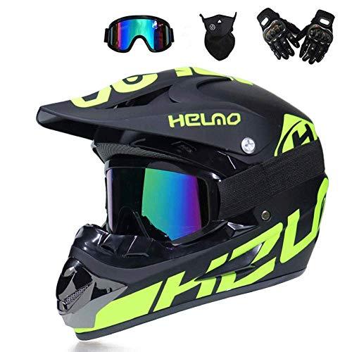 DLPAC Full Face Motorcycle Helmet, with Goggles Gloves Helmet Set Adult Motorbike Motocross Helmet Off Road Crash Helmet Protective Gear DOT Certified (52-59cm)
