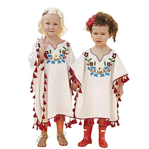POachers Enfant Baby Girls Fille Rétro Bohême Fleur Linen Robe Kimono Beach Cover up Kaftan Outfits Chemise T-Shirt Manche Courte Tops Hauts S-2XL