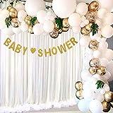 Arche de Ballon, 113 Pcs Guirlande de ballons confettis en or blanc avec des feuilles de palmier tropical pour pour Enfant Anniversaire Mariage Fond fête décoration Fournitures