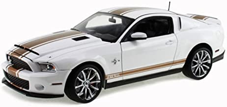 2012 Ford Shelby GT500 Super Snake, White w/ Gold Stripes - Shelby SC322B - 1/18 Scale Diecast Model Toy Car