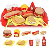 Sotodik Küchenspielzeug Lebensmittel Abnehmbar DIY Hamburger Hotdog Spielzeug Set,Kinderküche Zubehör Pädagogisches Rollenspiele Geschenk für Jungen Mädchen