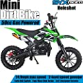 SYX MOTO Kids Mini Dirt Bike Gas Power 2-Stroke 50cc Motorcycle Holeshot Off Road Motorcycle Holeshot Pit Bike, Pull Start, Green by SYX MOTO