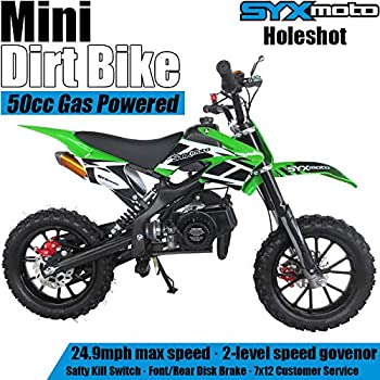 SYX MOTO Kids Mini Dirt Bike Gas Power 2-Stroke 50cc Motorcycle Holeshot Off Road Motorcycle Holeshot Pit Bike, Pull Start, Green