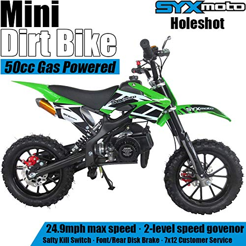 SYX MOTO Kids Mini Dirt Bike Gas Power 2-Stroke 50cc Motorcycle Holeshot Off Road Motorcycle Holeshot Pit Bike, Pull Start, Green