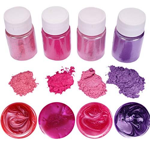 4 Pcs Epoxidharz Farbe, Metallic Farbe Resin Pulverfarbe Seifenfarbe Pigmentpulver Mica Pulver Powder Zur Farbherstellung