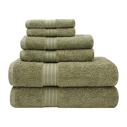 Baltic Linen Majestic Heavy Weight Cotton Towels, 2 Bath Towels, 2 Hand Towels, 2 Washcloths, Moss Green, 6 Piece Set