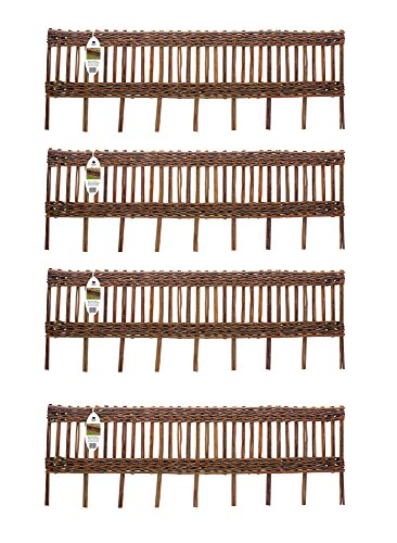 Ruddings Wood Pack of 4 x Willow Lawn Edging - Garden Border Fencing Lawn Hurdle Edge Fence