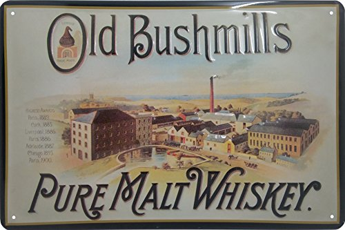 Old Bushmills metalen bord, origineel Pure Malt Whiskey Brand Nostalgic Retro Metal Plate, 20 x 30 cm