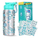 Beewarm Gift for Girls, Decorate & Personalize Your Own Water Bottles with Tons of Rhinestone Glitter Gem Stickers, Reusable BPA Free 20 oz Kids Water Bottles, Fun DIY Art and Craft for Kid Blue