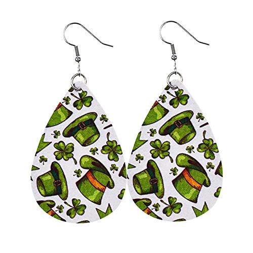 Seguire Green Lucky Earring St Patricks Day Green Drop Shape Printing Earrings Irish Teardrop Earrings for Women Girls Jewelry Accessory Ear Studs, Shamrock, Leprechauns, Green Beer