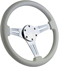 350mm Classic Chrome Marine Boat Steering Wheel with White Grip and Horn Cover Plate