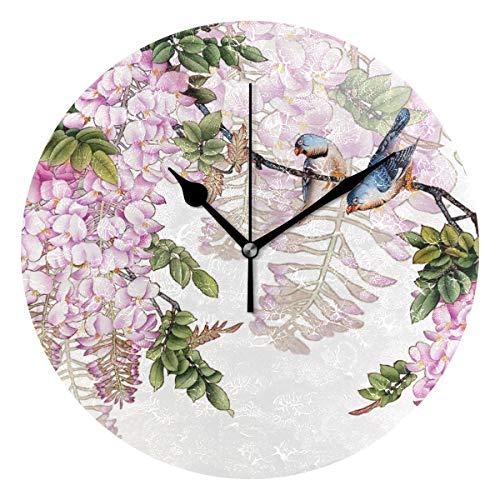 MONTOJ - Reloj de pared con diseño de pájaros, funciona con pilas, color lila