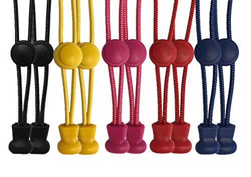scarlet sport | Schnürsenkel »Premium«, 5 Paar Flex-Schnürsenkel, elastisch, mit Schnellverschluss & Schnellschnürsystem, passend für jeden Schuh, perfekter Halt, Menge: 10 Stück je 120 cm