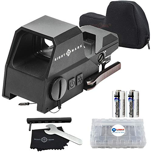 Sightmark Ultra Shot R-Spec Reflex Sight, Red and Green Reticle Bundle with 2 Extra CR123 Batteries and a Lightjunction Battery Case