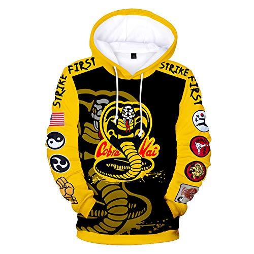 CCEE 2 Bis 14 Jahre Kinder Hoodies Die Karate Kid Cobra Kai 3D-Print Hoodie Sweatshirt Jungen Mädchen Mode Harajuku Jacke Kinderkleidung
