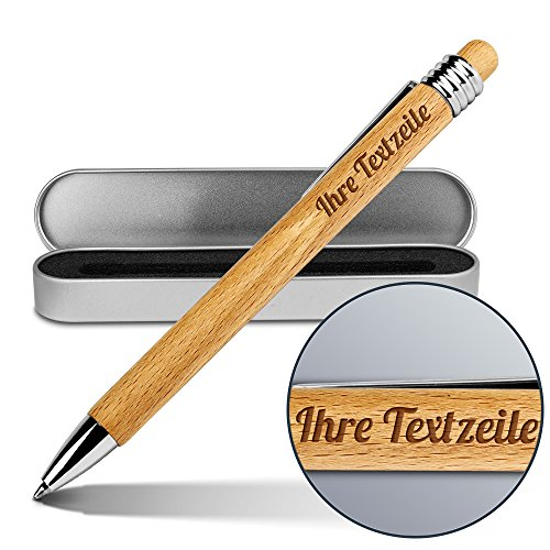 PrintPlanet® - Kugelschreiber mit eigenem Text oder Namen gravieren lassen - Holz-Kugelschreiber von Ritter inkl. Metall-Geschenkdose
