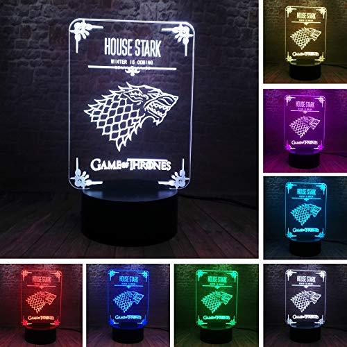 Haus Stark Spiel TV Drama Thrones Wolf Kindermann Weihnachten 3D LED Nachtlicht USB Tischlampe Kinder Geburtstagsgeschenk Nachttisch Dekoration