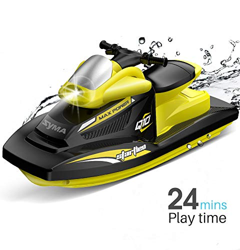 Syma 2.4GHz RC High Speed Boat Remote Control Watercraft for Pools, Lakes and Outdoor Electric Race Q10 RC Moto Boat Toys for Adults & Kids Waterproof Low Voltage Alarm