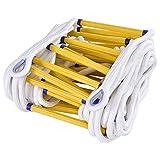 Feuerleiter für Notfälle,Flammhemmende Sicherheits-Strickleiter mit Haken -Schnelle Bereitstellung und einfache Verwendung - Kompakt und einfach zu lagern - Gewichtskapazität bis zu 2.500 Pfund,6m