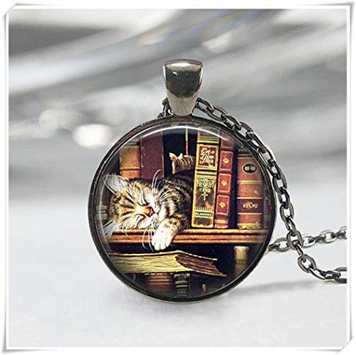 we are Forever family Buch-Halskette, Bibliothekskatzen-Halskette, Buch-Halskette, literarischer Schmuck, kuppelförmiger Glasschmuck, reine Handarbeit