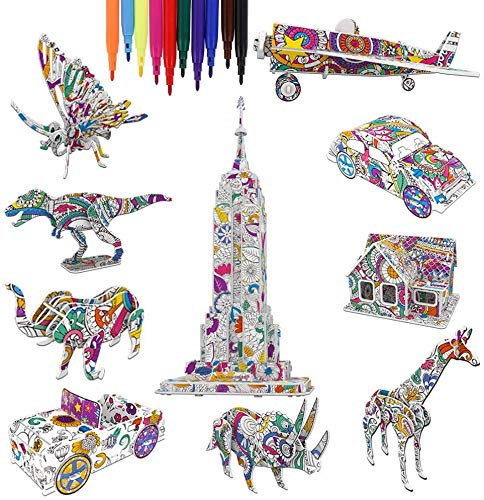 Barchrons 3D Coloring Puzzle Set, Arts and Crafts for Girls and Boys Age 6 7 8 9 10 11 12 Year Old, Fun Educational Painting Crafts Kit with Supplies for Kids, Birthday Toy Gift for Kids