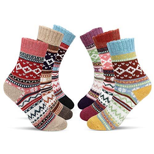 Emooqi 6 Pares de Calcetines Térmicos, Mujer Calcetines De Algodón Niña Calcetines Divertidos Termicos de Invierno Vintage Acogedor Transpirable Regalo de Navidad Tamaño 35-42