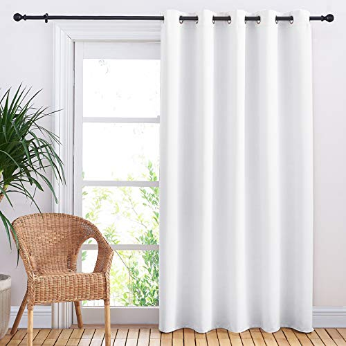NICETOWN Sliding Door Curtain Window Treatment, Energy Smart Thermal Insulated Extra Wide Solid Blackout Curtain Drape for Patio Door (Pure White, W70 x L84)