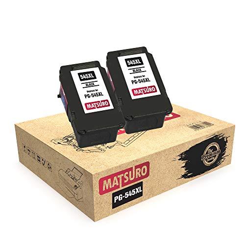 Matsuro Original | Kompatibel Remanufactured Tintenpatronen Ersatz für Canon PG-545XL PG-545 (2 SCHWARZ)