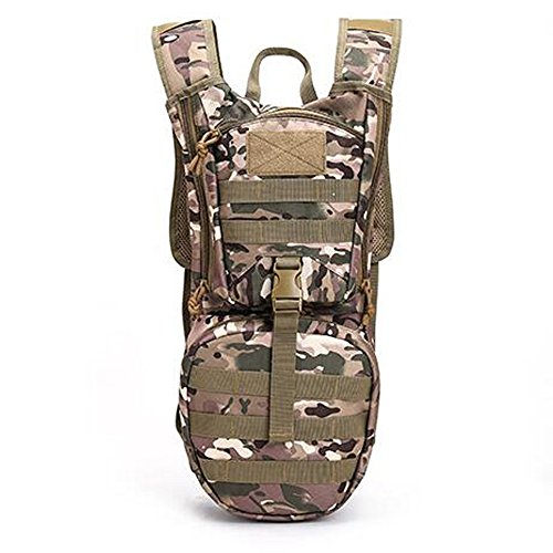 2.5L -3L Water Bag Molle Military Tactical Hydration Backpack Outdoor Camping Nylon Water Bladder Bag for Cycling (CP Camouflage)