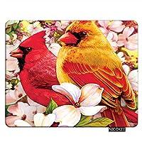 鳥ゲーミングマウスパッド赤枢機Birdの鳥のデザイン、面白い鳥マウスパッド長方形マウスマットコンピューターデスクラップトップオフィス9.5×7.9インチ滑り止めゴム 18x22cm