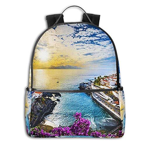 SGSKJ Mochila Tipo Casual Mochila Escolares Mochilas Escolar Estilo Impermeable para Viaje De Ordenador Portátil para Hombre Mujer Islas de Tenerife