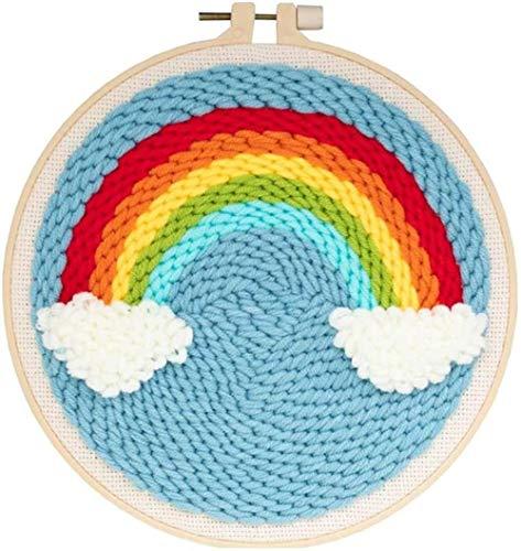 hsj LF- DIY Rug Hooking Crafts Stricken Stickerei Kit 20cm Runde Stickerei Basisdurchschlag Nadel Starter Kit mit Punch-Nadel Lernen (Color : Small Rainbow)