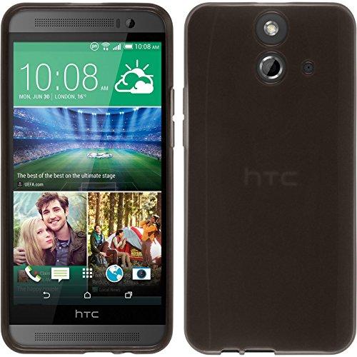 PhoneNatic Hülle kompatibel mit HTC One E8 - schwarz Silikon Hülle transparent + 2 Schutzfolien