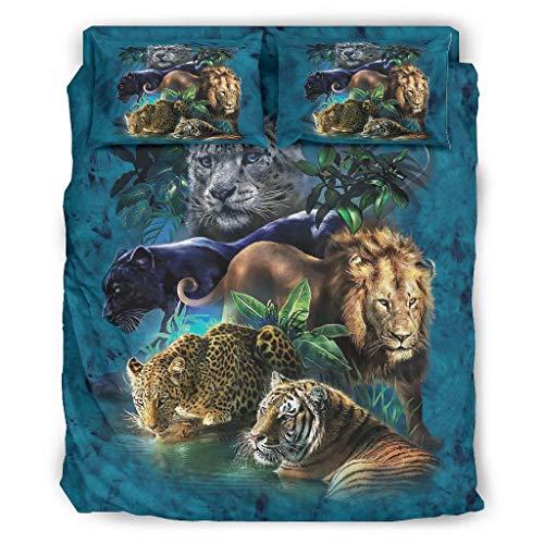 Zaclay 4er-Set Weißer Tiger Leopard Löwe Tagesdecke Kit Kissenbezüge und Bettbezüge Bettdecke - weich und leicht -Waschen Bettlaken Kits Abdeckung White 240x264cm