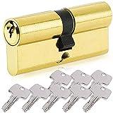 BETOY - Cilindro per porta con pomello serratura con chiave,con chiave, Oro, elemento sostitutivo resistente al trapano, disponibile in ottone e nichel 35/35(70mm)