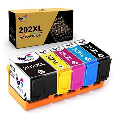 ONLYU Cartucho de Tinta Compatible Reemplazo para Epson 202XL 202 XL para Epson Expression Premium XP-6000 XP-6005 XP-6001 Xp-6100 Impresora (1 Negro 1 Foto Negro 1 Cian 1 Magenta 1 Amarillo)