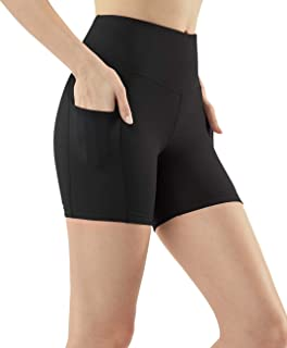 TSLA Women's (Pack of 1, 2) Active Bike Running Yoga Shorts Side/Hidden Pocket Series, Womens, Pocket Contour 5in(fys25) -...