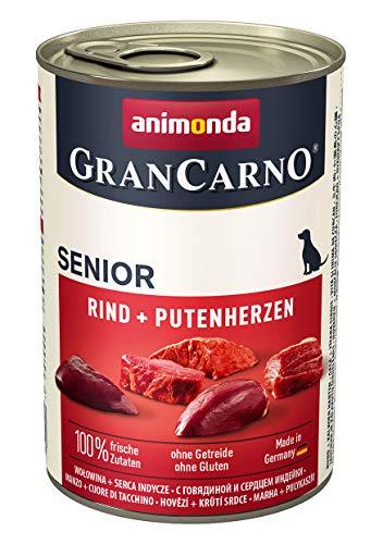 Animonda GranCarno Cibo per cani Senior, cibo umido per cani più grandi da 7 anni, da cuori di manzo e tacchino, confezione da 6 (6 x 400g)
