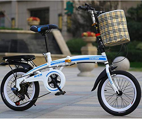 WPY Bicicleta Plegable,20 Pulgadas, Cambio de 7 Velocidades,Acero Carbono,para Transporte en Coche, autobús, caravanas