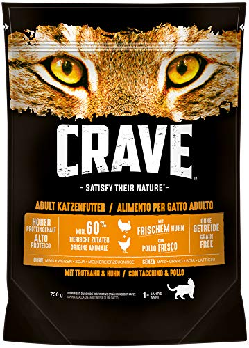 Crave Katzenfutter Trockenfutter Adult 1+ Mit Huhn & Truthahn, 1 Beutel (1 x 750g)