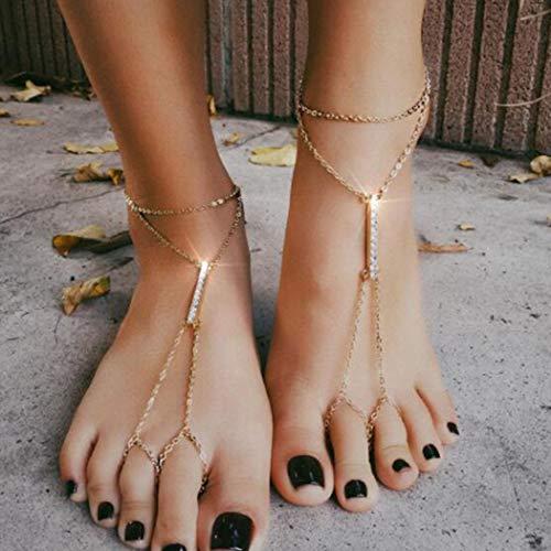 Handcess Boho Tobilleras Pulseras de tobillo de oro en capas Sandalia descalza de cristal Cadena de pie para mujeres y niñas (2 piezas)
