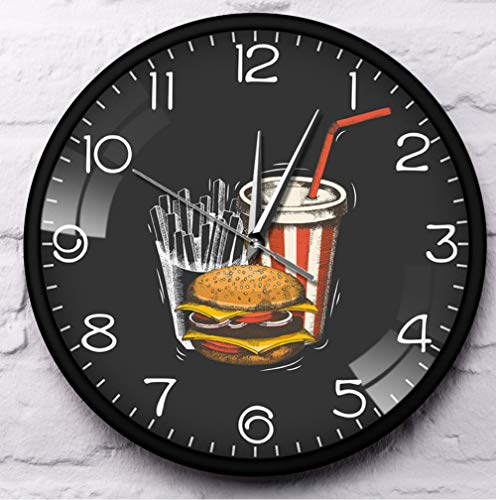 DADAF Fast Food In Town Hamburger Fries Soda Traditionele Smaak Afhalen Fast Food Restaurant Metalen Frame Stille Wandklok