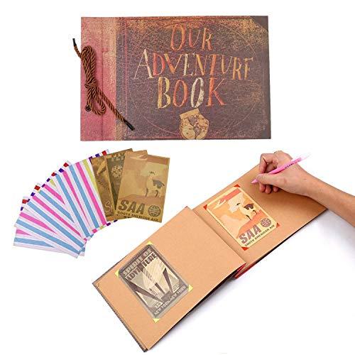 JZK Album de fotos Our Adventure Book álbum de fotos hecho a mano diy familiar scrapbook con esquinas de fotos autoadhesivas, diario de viaje libro de registro de memoria familiar