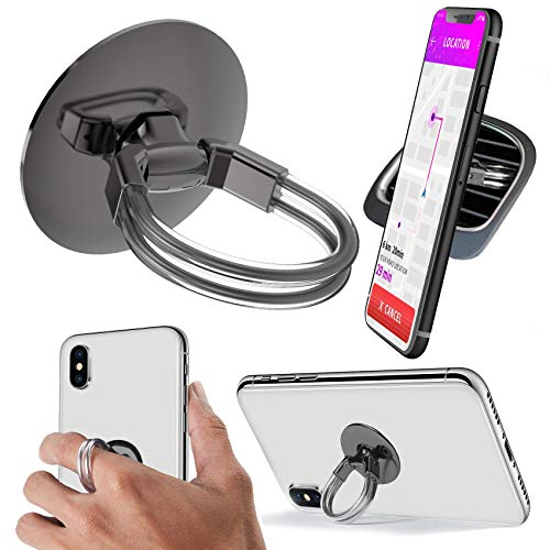 Aduro Phone Ring Holder [3-in-1] - Phone Ring, Phone Stand, Phone Car Vent Mount, Finger Grip Phone Holder for All iPhone, Samsung Galaxy (Black)