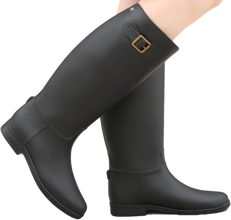York Zhu Unisex Rubber Rain Boots - Refined Slim Fit Back Strap Rain Boot Waterproof