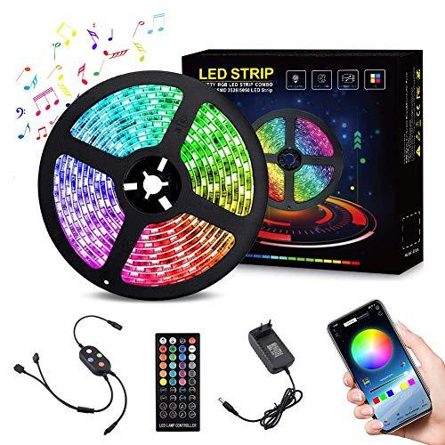 LED Streifen LED Strip, 5M LED Band 10M RGB SMD 5050 mit 40 Tasten Fernbedienung, 12V Netzteil, IP65 Wasserdicht für die Weihnachtsküche,TV-Bildschirm (RGB) inkl. Farbwechsel, selbstklebend