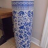 Vintage Porcelain Tall Umbrella Holder Stand Ornamental Chinese Floor Vase Freestanding Entryway Hallway Umbrella Walking Sticks Storage Rack Organizer