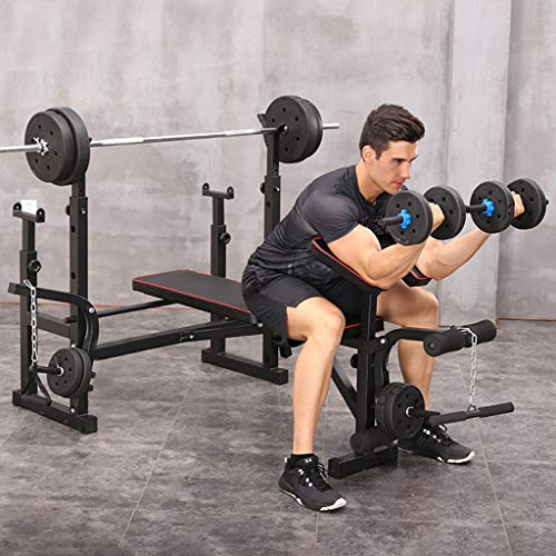 【US Stock】5 Level Adjustable Olympic Weight Benches with Press Squat Rack,Barbell Dumbbell Weightlifting Bed with Preacher Curl Leg Developer,Fullbody Workout Dip Station,Gym Home Fitness Exercise