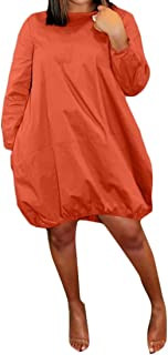 FSSE Women Long Sleeve Relaxed Casua Dress Solid Beach Party Mini Dress