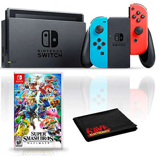 Nintendo Switch Console with Neon Blue and Red JoyCon Bundle with Super...